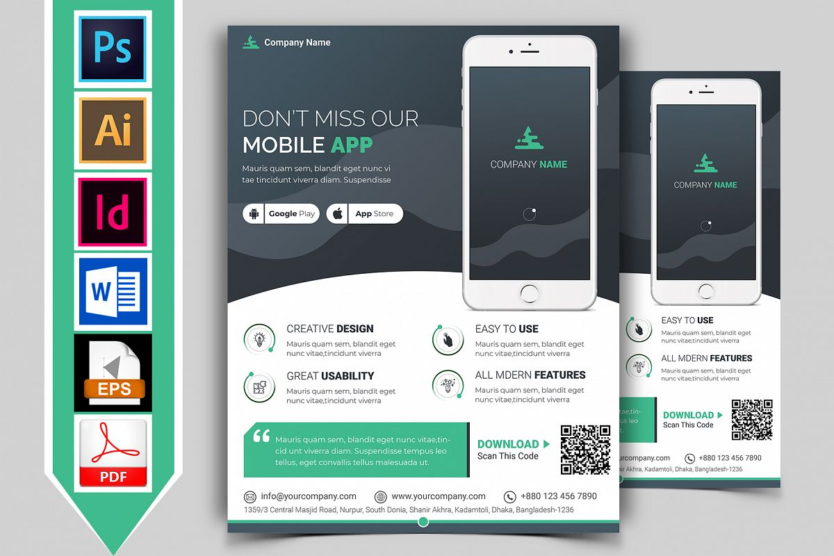 Mobile App Promotional Flyer Vol-02 example image 1