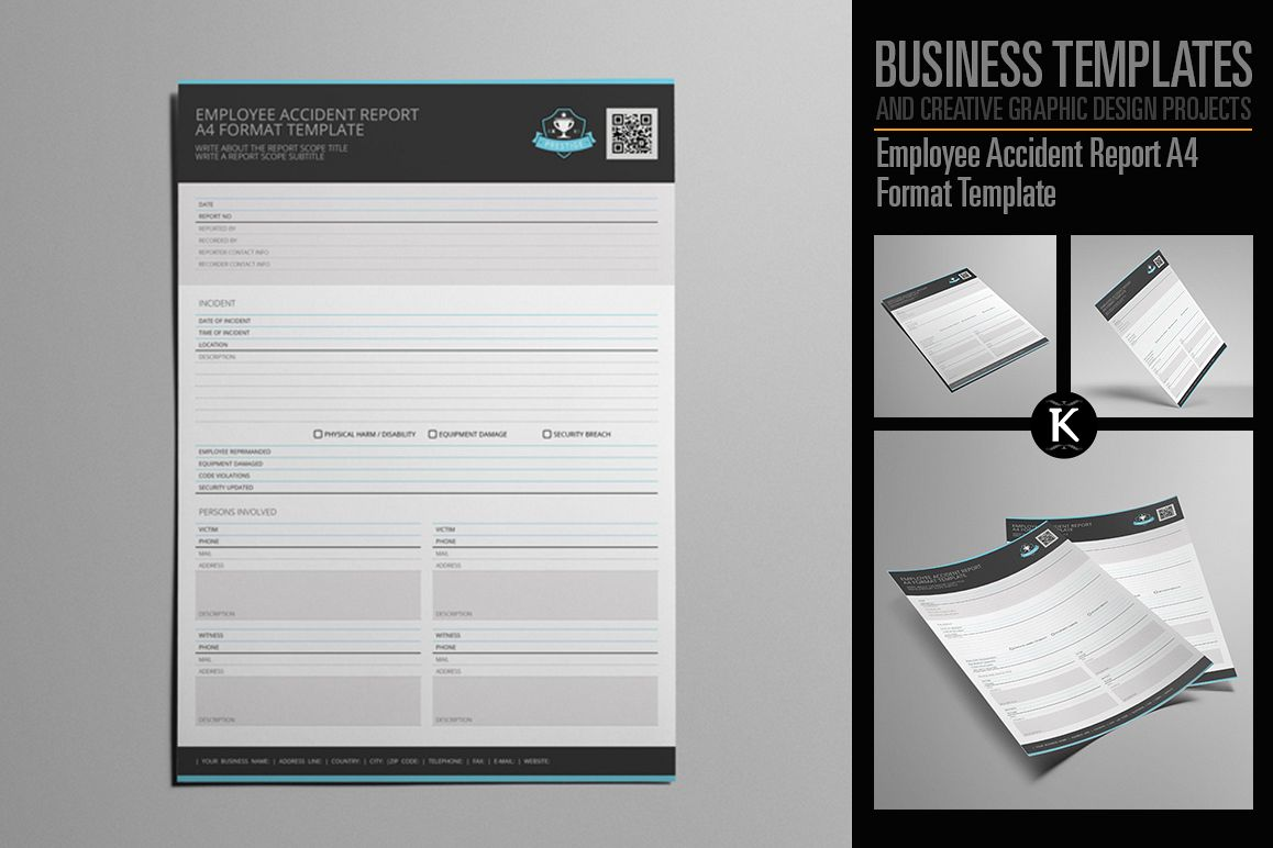 Employee Accident Report A4 Format Temp | Design Bundles