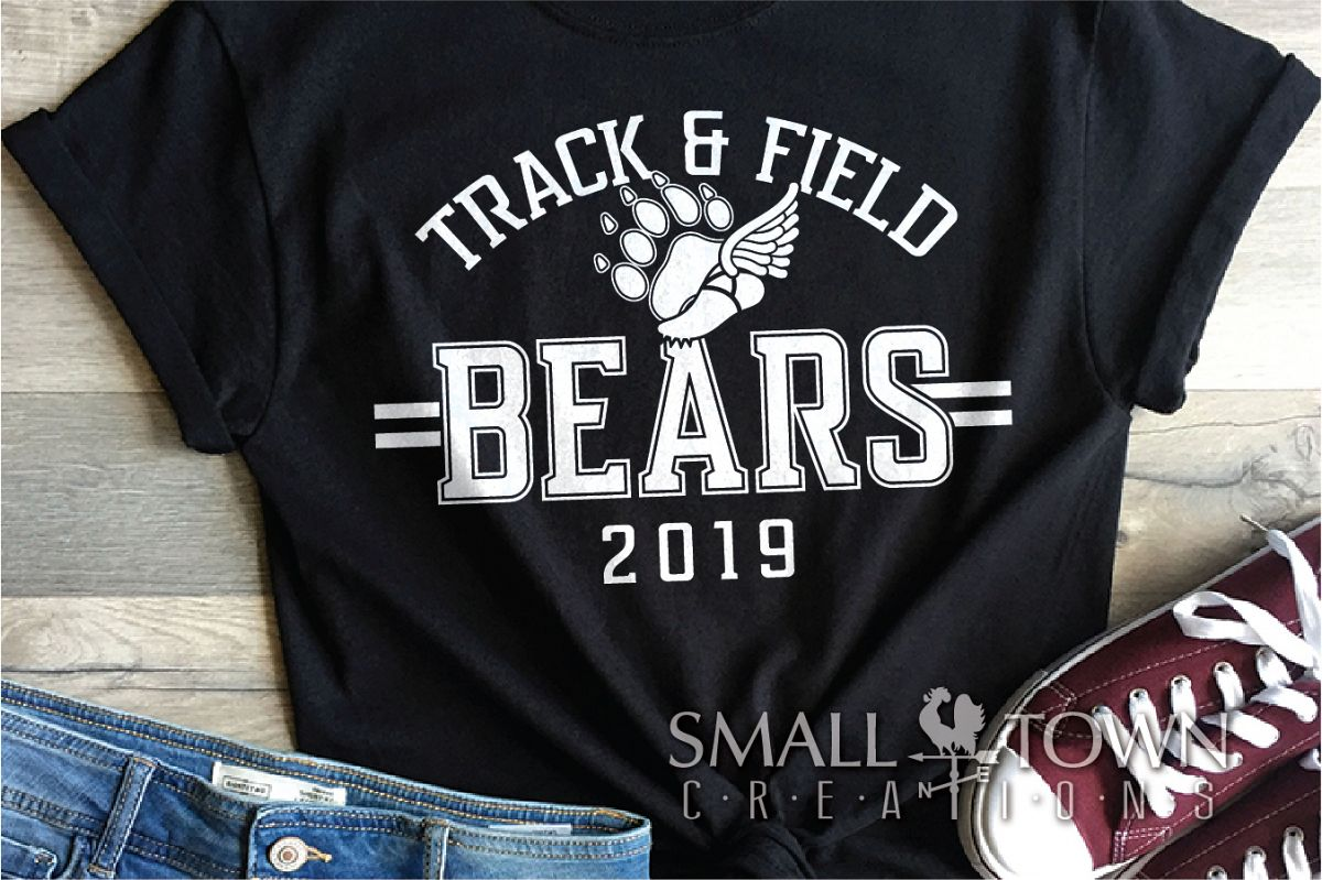 Bears Track and Field, Bear mascot, logo, PRINT, CUT, DESIGN example image 1