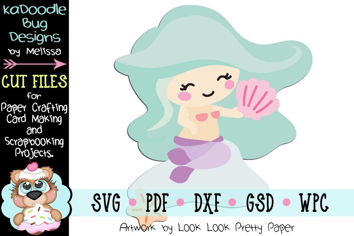 Sitting Mermaid Cut File - SVG PDF DXF GSD example image 1