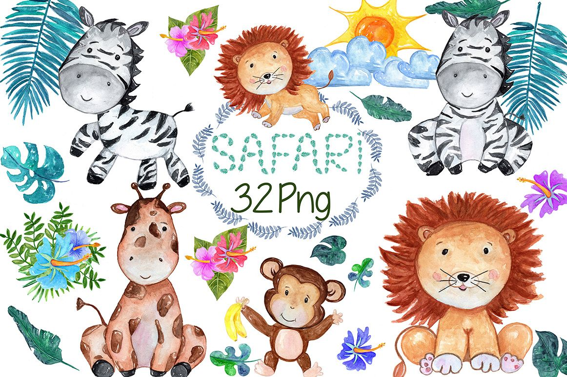 Watercolour Safari animals clip art example image 1