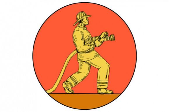 Fireman Firefighter Holding Fire Hose Circle Drawing example image 1