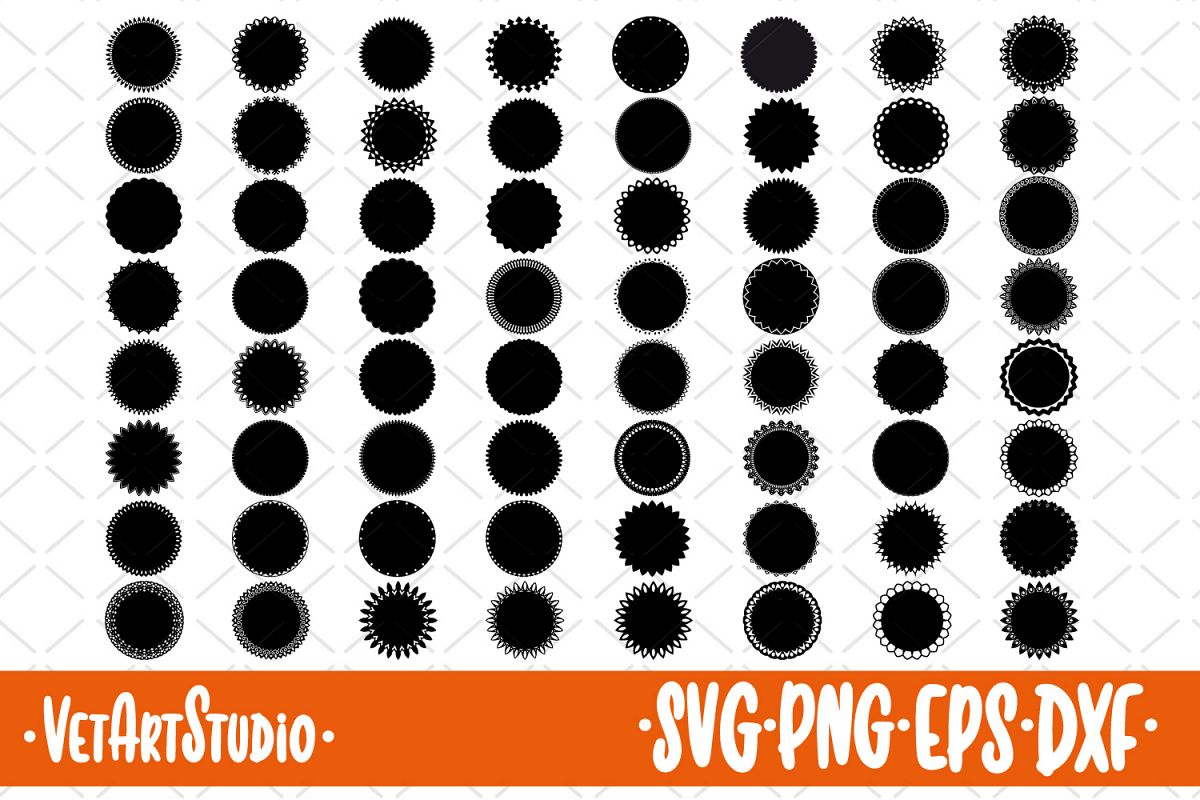 64 Round frames, Circle label SVG example image 1