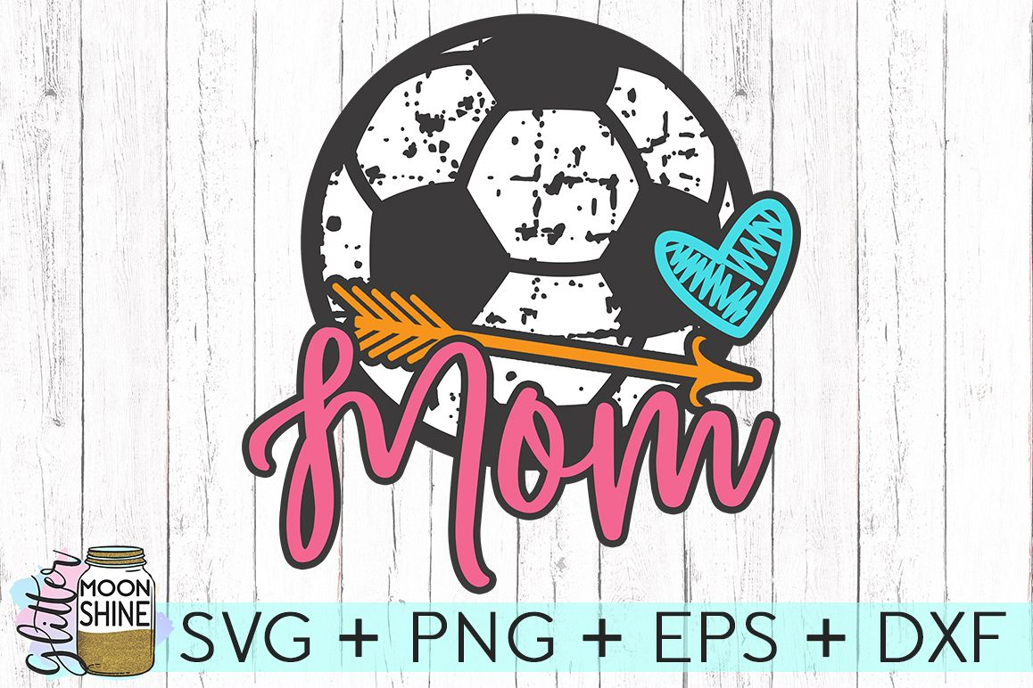 Soccer Ball Mom Distressed SVG DXF PNG EPS Cutting Files example image 1