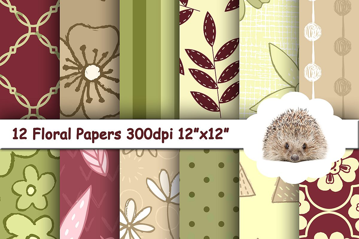12 Vintage Retro Patterned Papers / Backgrounds example image 1