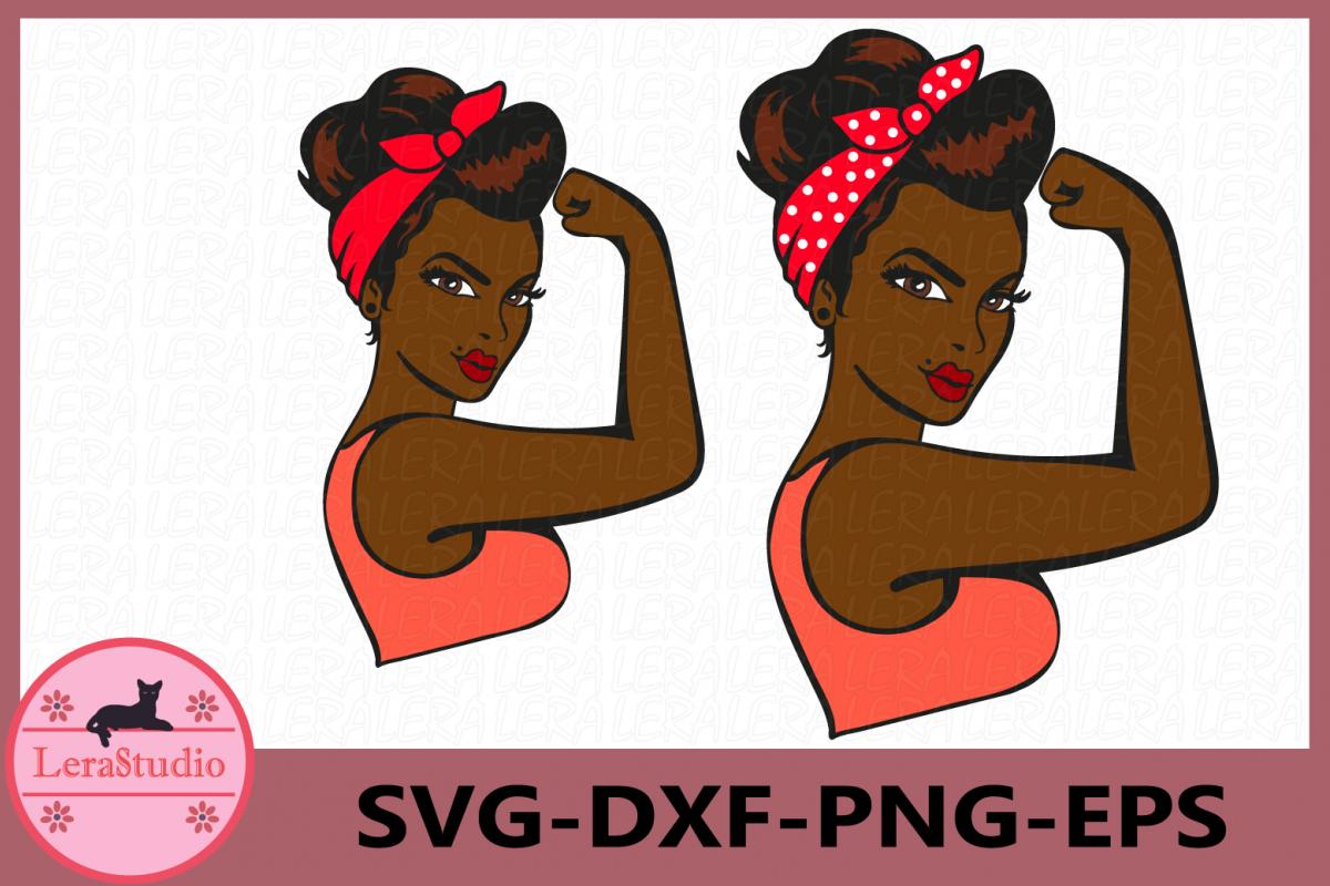 Girl Power SVG, Afro Girl Power Silhouette example image 1