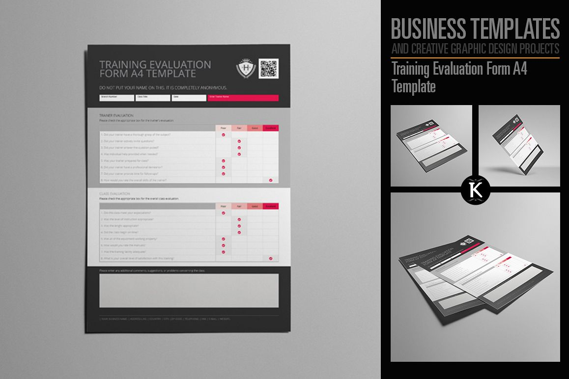 Training Evaluation Form A4 Template example image 1