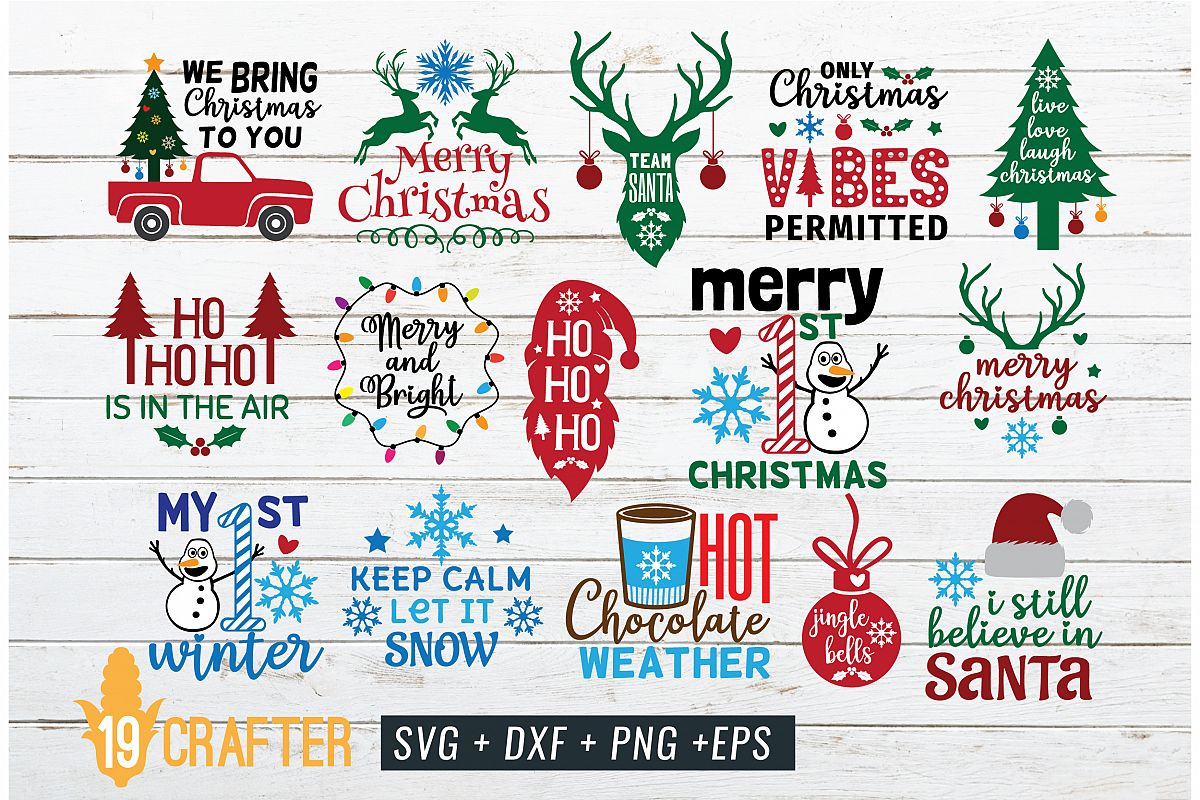 Merry Christmas and Winter Holiday Theme SVG DXF EPS crafter example image 1