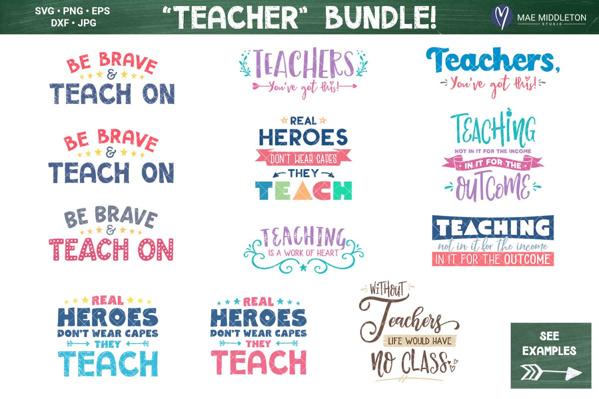 Teacher bundle - printables, svg cut files example image 1