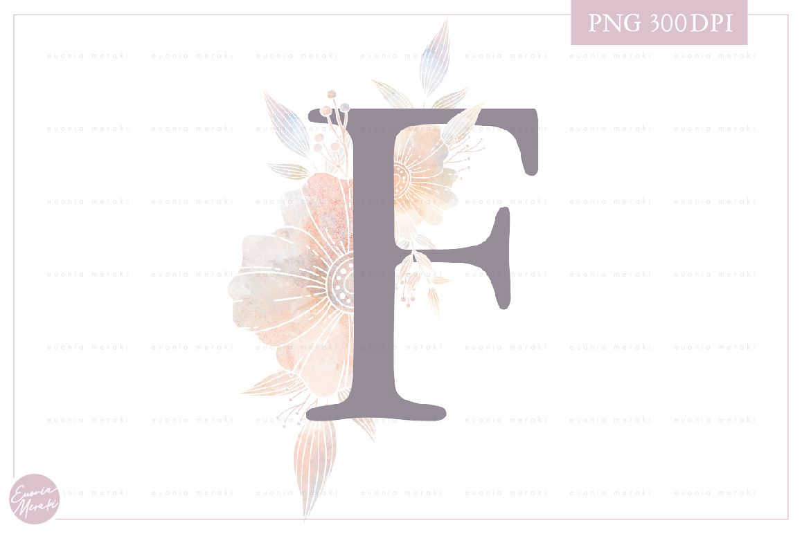 MONOGRAM Letter F Floral Wedding Monogram - Flower alphabet example image 1