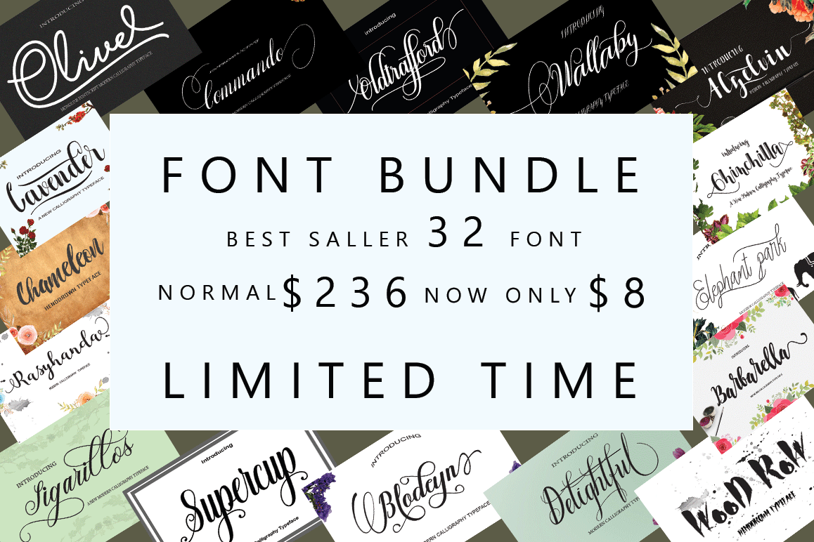 FONT BUNDLES COLECTION 2018 example image 1