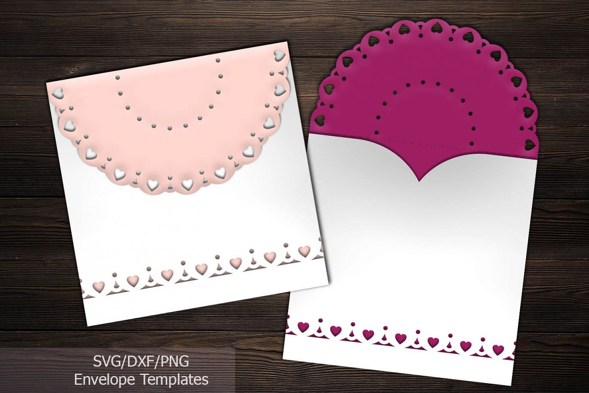 Rustic Lace Wedding Invitation Envelope Laser Cut Template Example Image 1