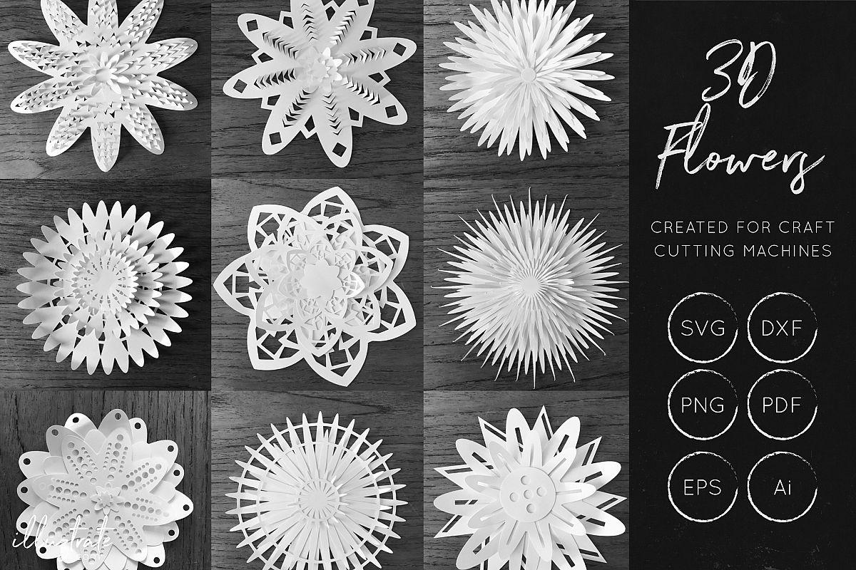 Download 3D Flower SVG Cut Files - Flower SVG - Layered Flower DXF