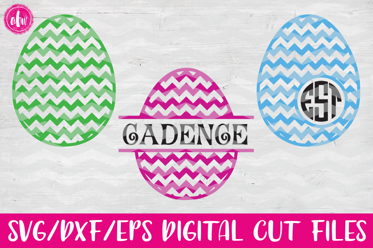 Chevron Pattern Easter Eggs Set - SVG, DXF, EPS Cut Files example image 1