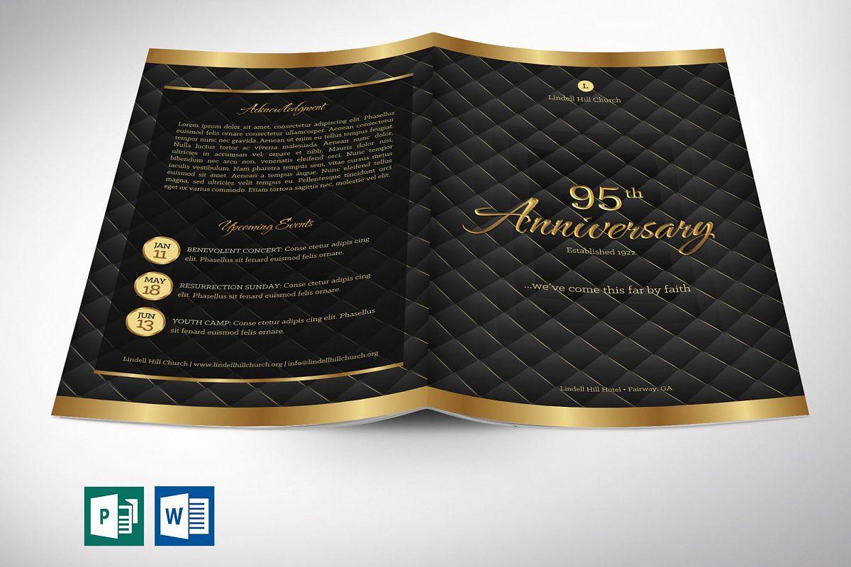 Gold Black Anniversary Program Word Publisher Template