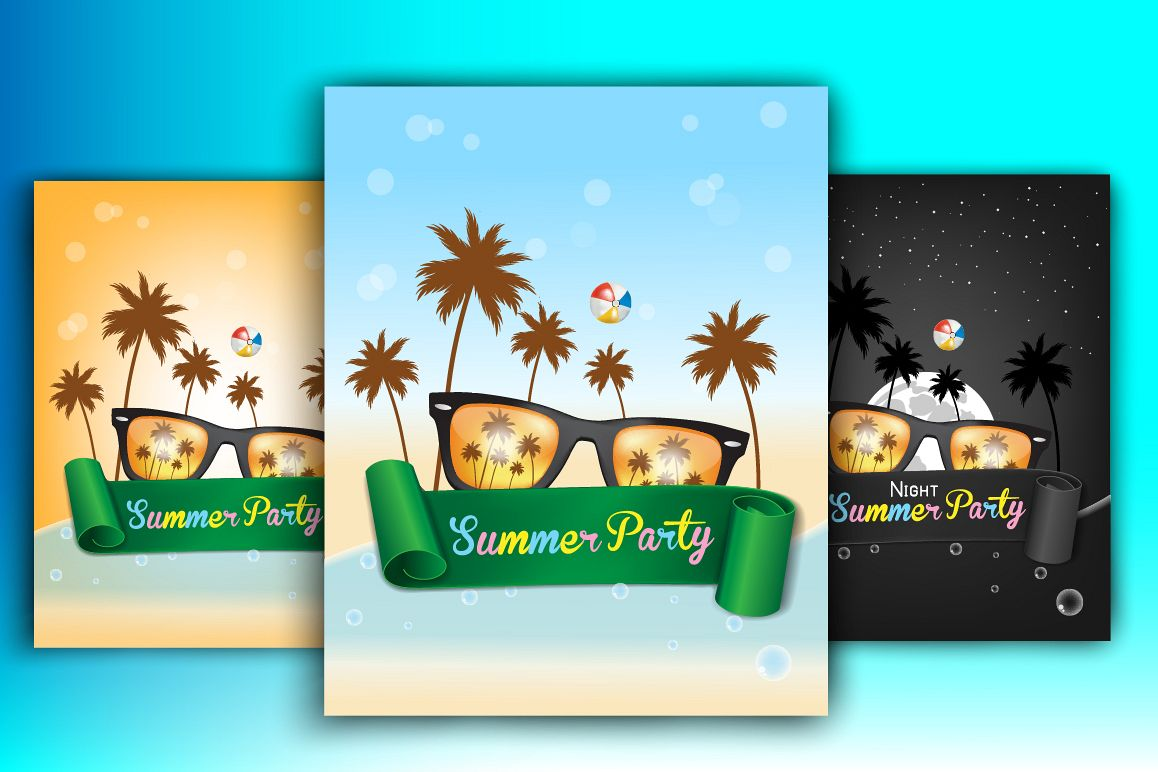3 Summer Party Posters example image 1