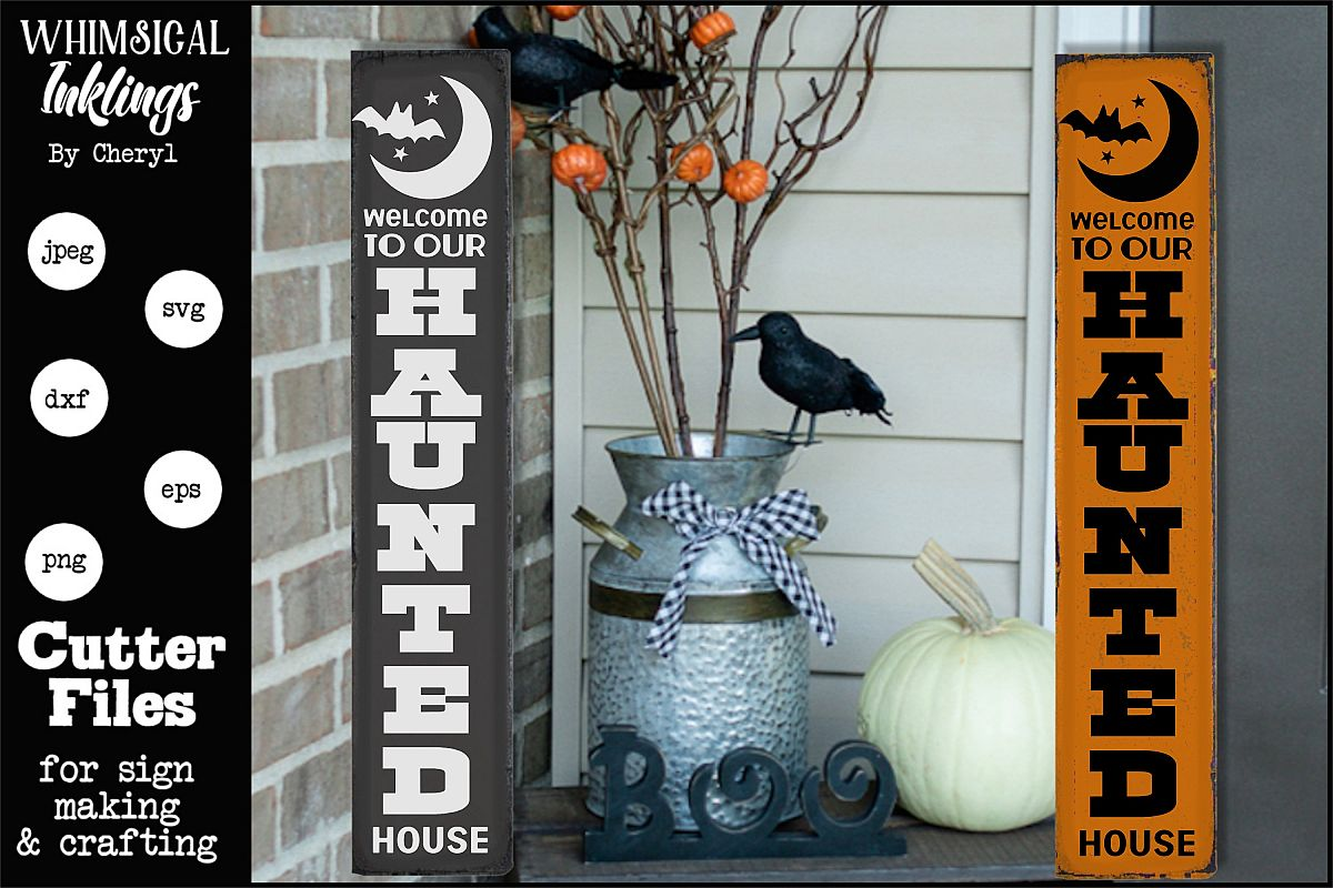 Haunted House-Vertical Halloween SVG example image 1