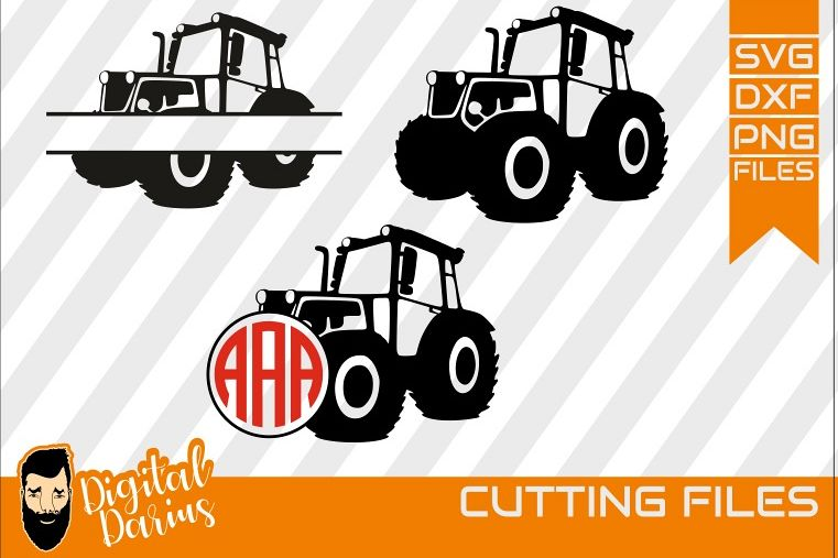 3x Tractor monogram svg, Tractor svg, Boys, Digger, Kids svg example image 1