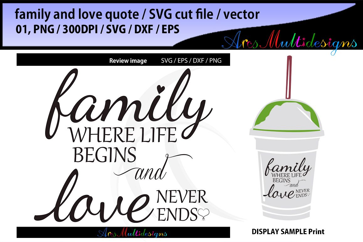 Family Where Life Begins Svg Cut File Love Never Ends Svg Cut File