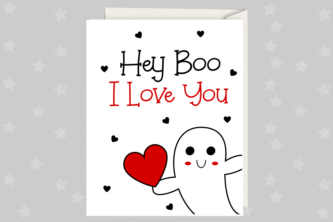graphic regarding I Love You Card Printable titled Anniversary Card, Hey Boo, Greeting Card Printable