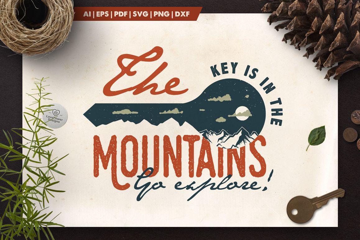 Mountain Key Logo Badge - A Mountain Adventure SVG Badge example image 1