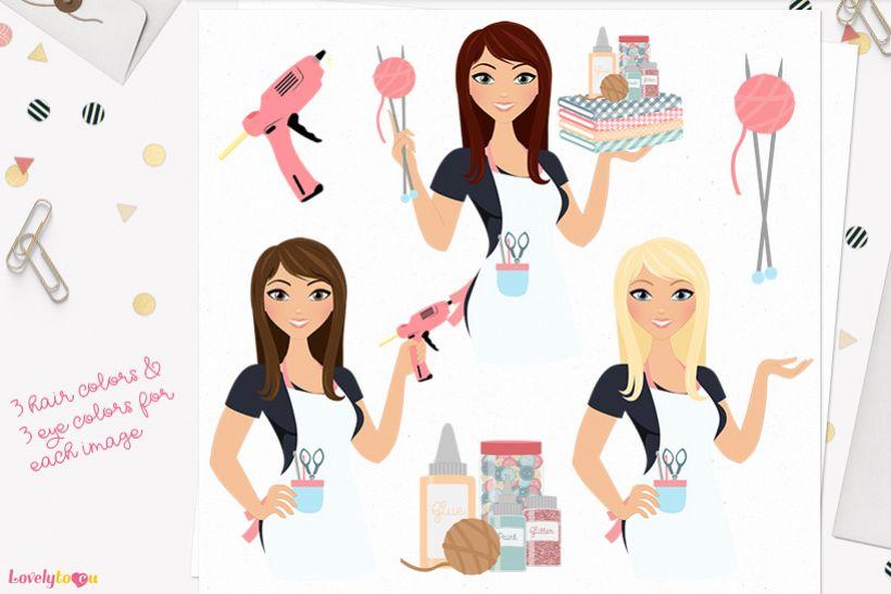 Woman crafts character clip art L155 Zara example image 1