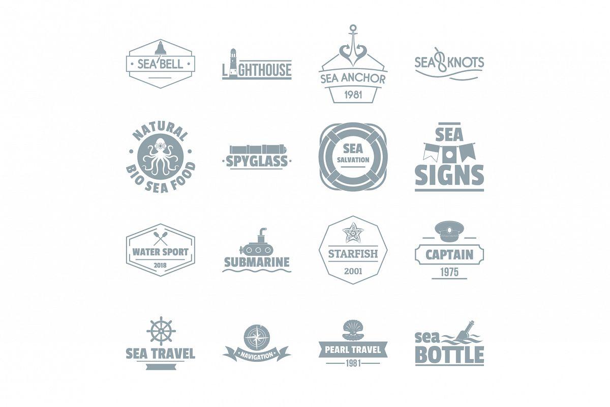 Nautical sea logo icons set, simple style example image 1