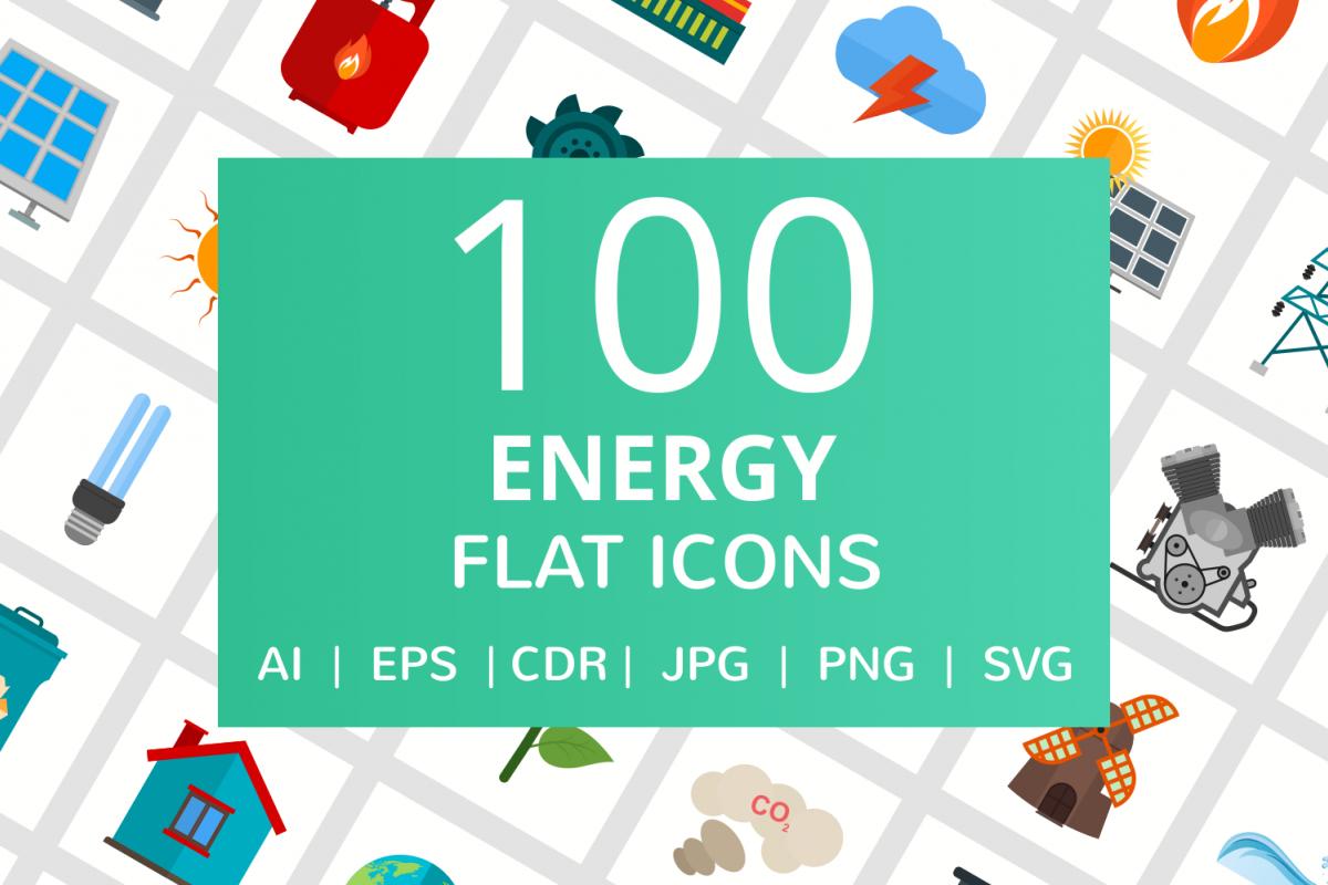 100 Energy Flat Icons example image 1