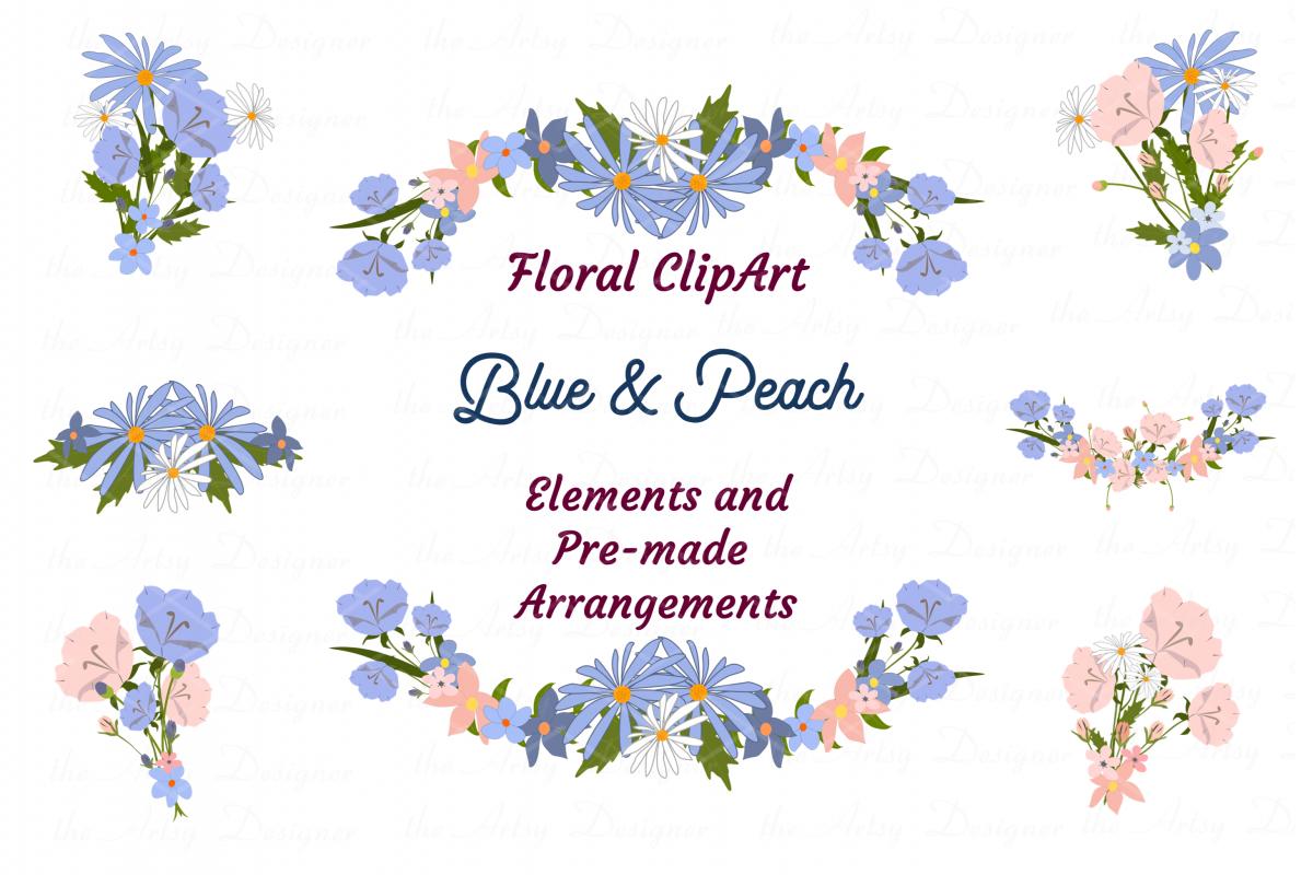 Blue Peach Daisy Flowers Sublimation Transfer Clipart Bundle example image 1