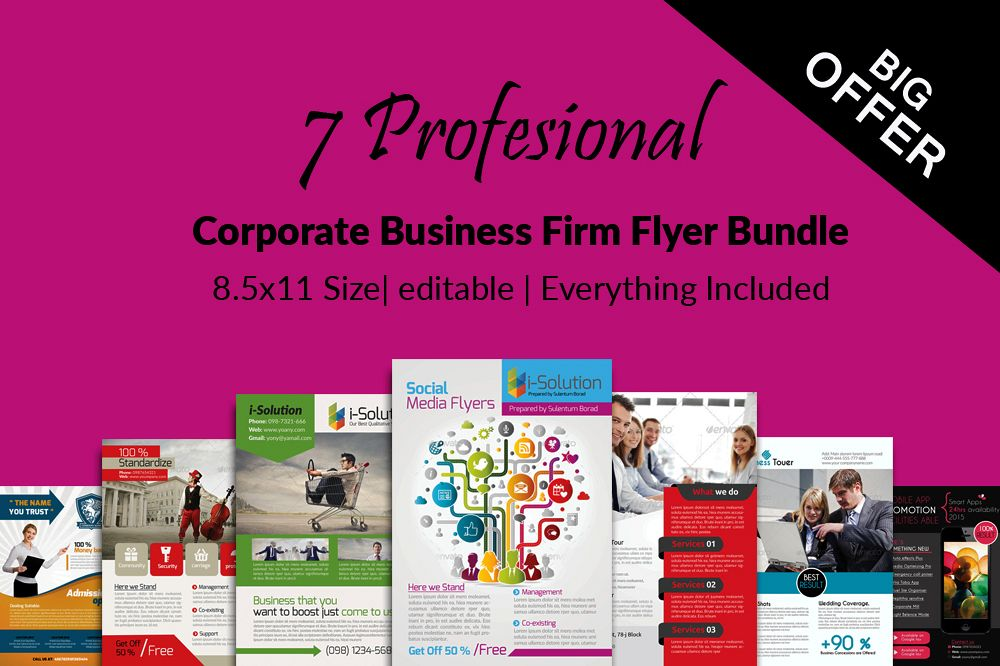 7 Corporate Business Flyers Bundle example image 1