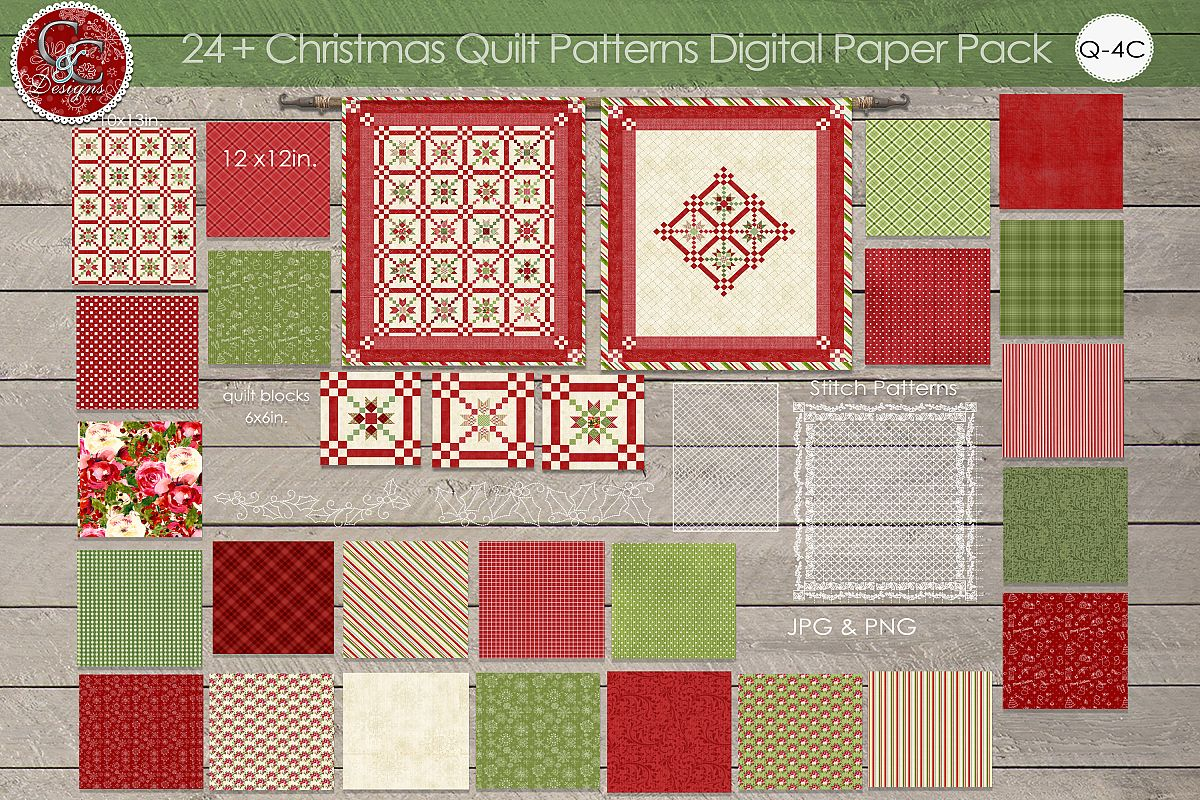 Christmas Quilt Patterns.24 Plus Christmas Quilt Patterns Digital Paper Pack