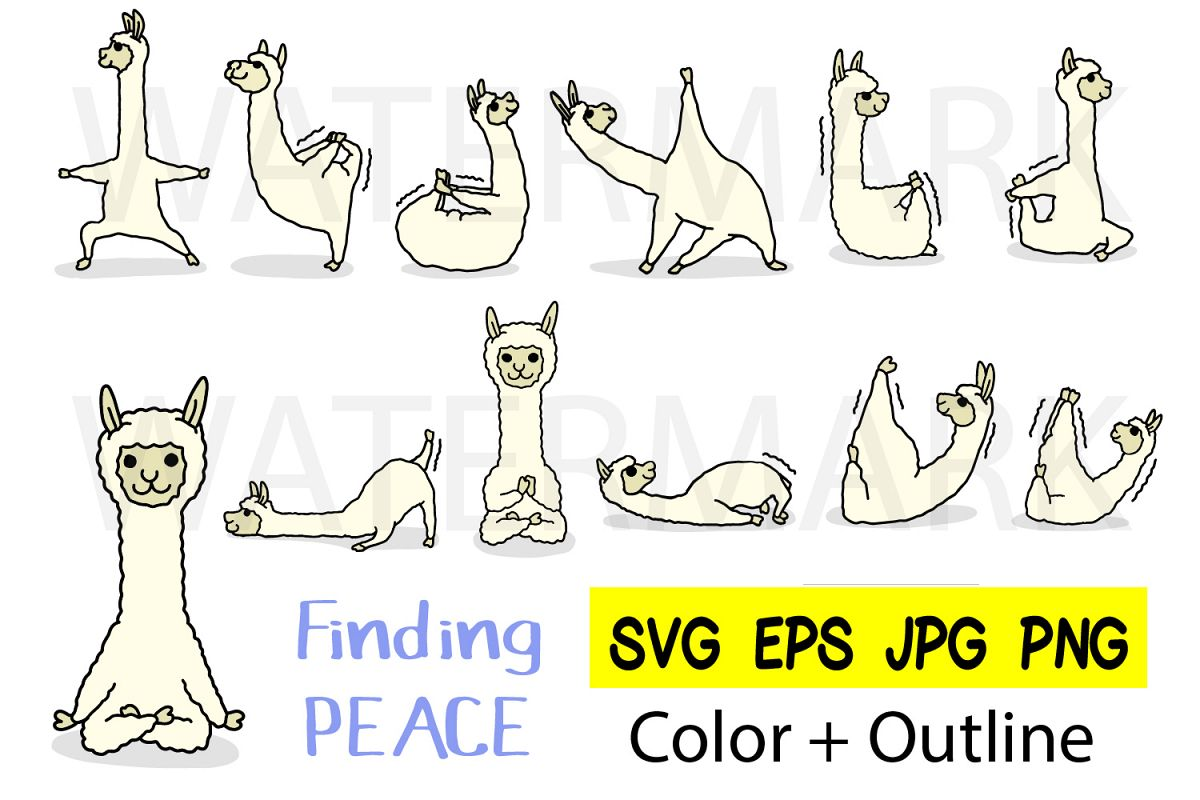 Llama Yoga 10 designs - Outline and Colored SVG-EPS-JPG-PNG example image 1