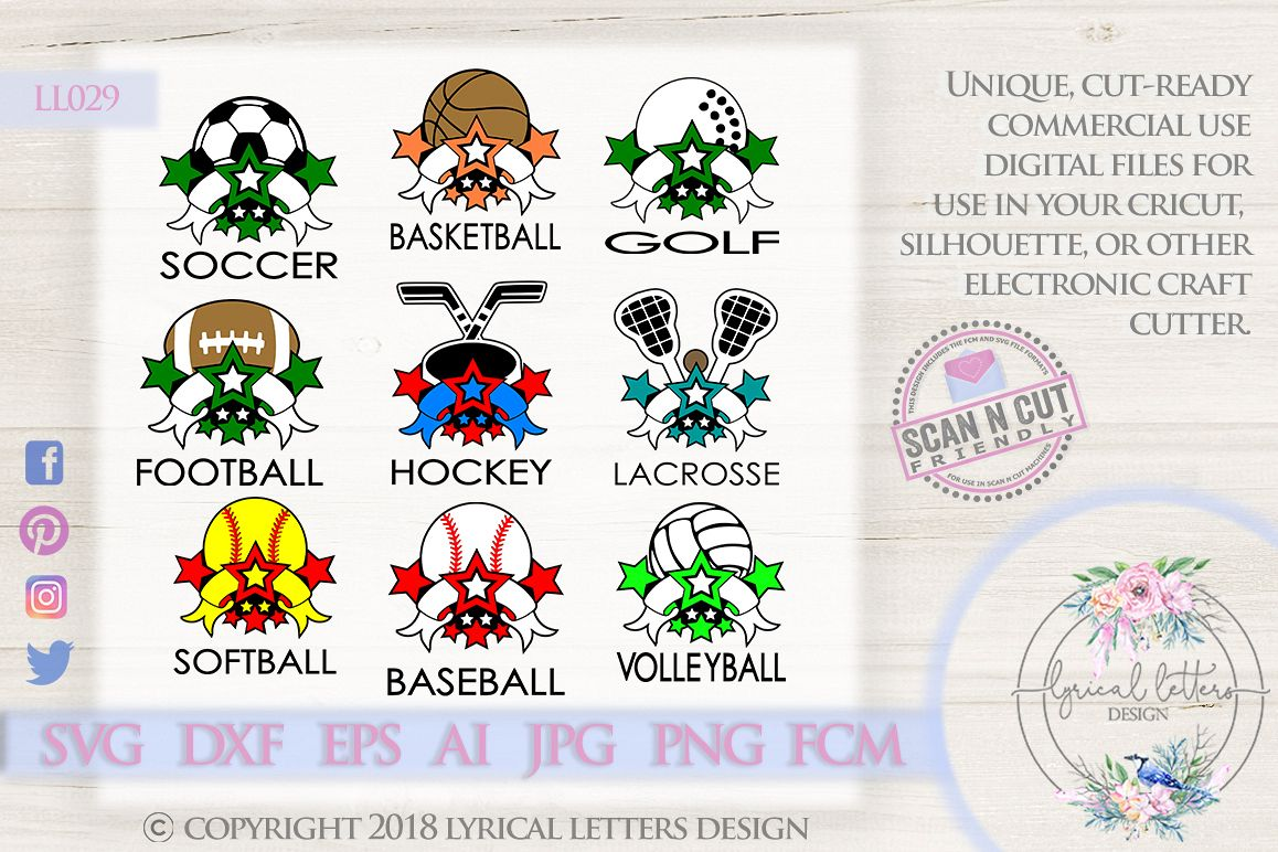 Sports Ball Bundle of 9 SVG DXF Cut Files LL029 example image 1