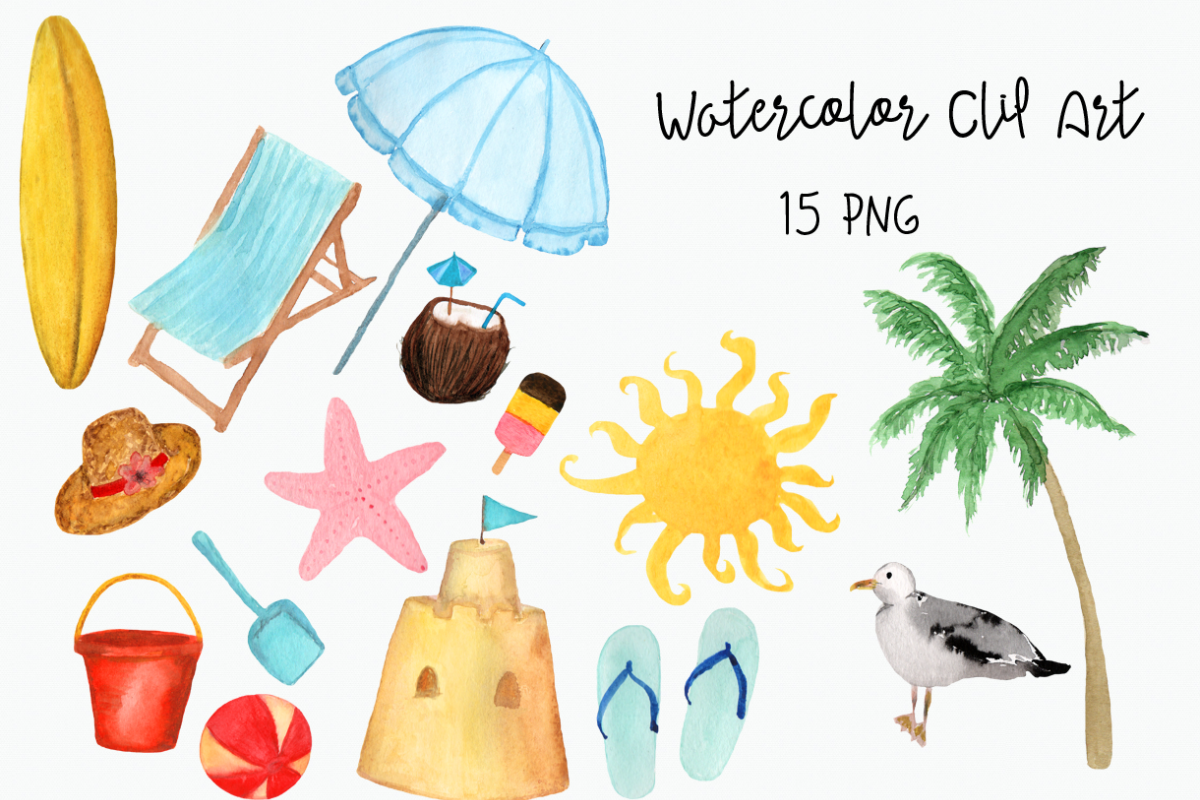 Watercolor beach. Hand painted clip art