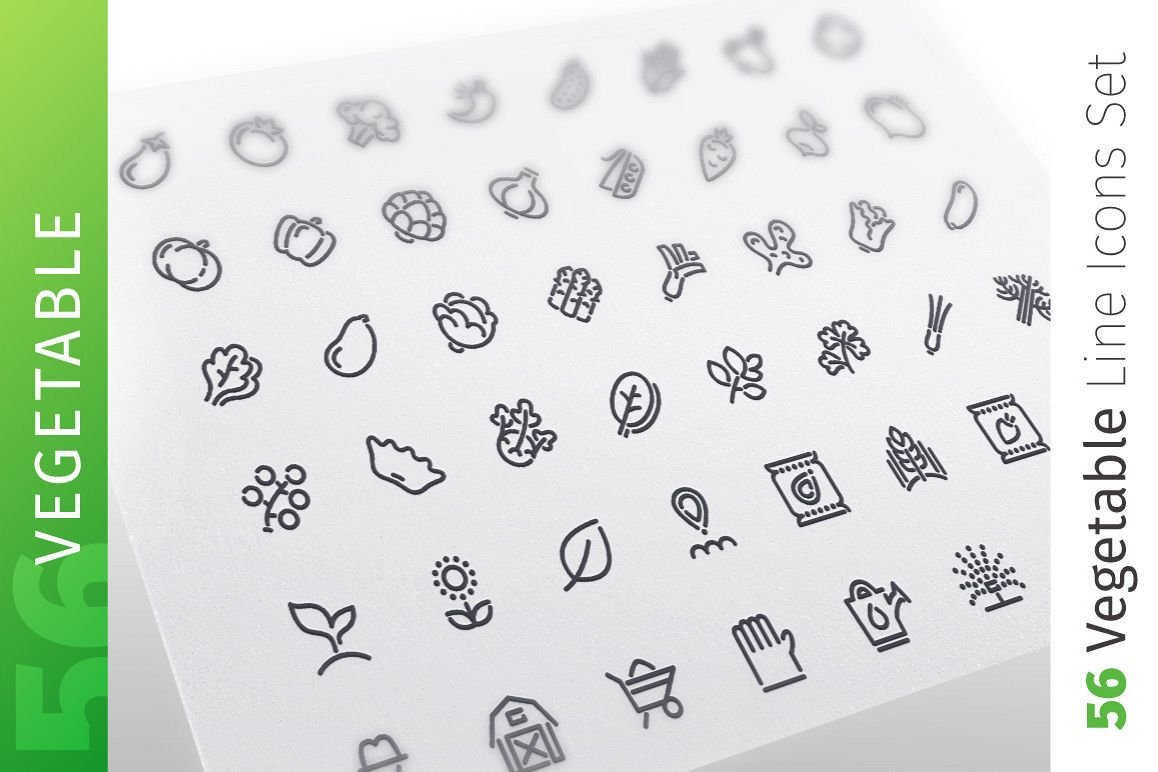 Vegetable Line Icons Set example image 1