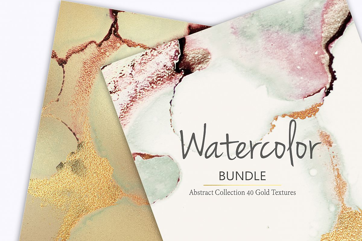 Gold Ink Watercolor and Foil Textures BUNDLE example image 1