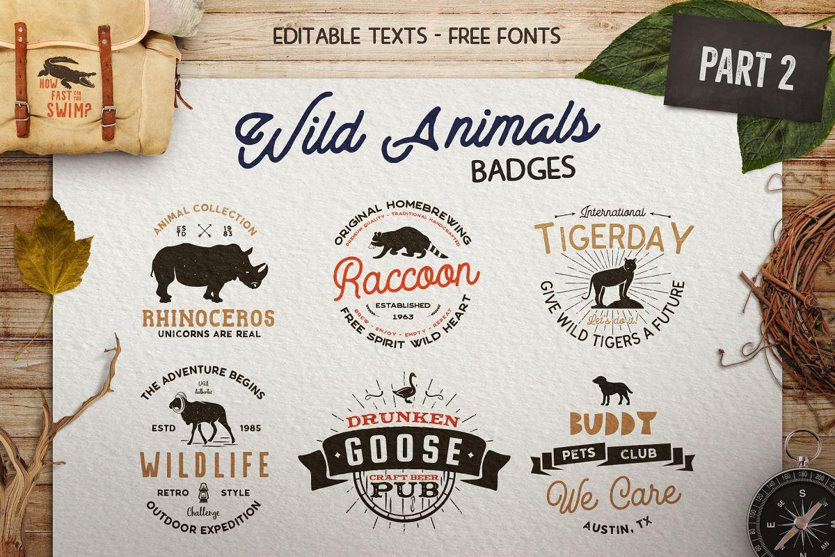 12 Wild Animals Badges Part 2 example image 1
