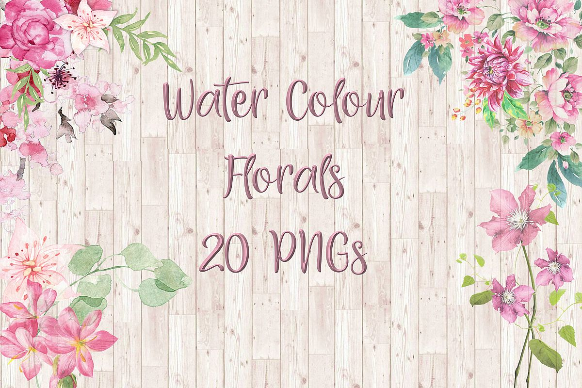 Watercolour Florals Clipart Bundle Commercial Use example image 1