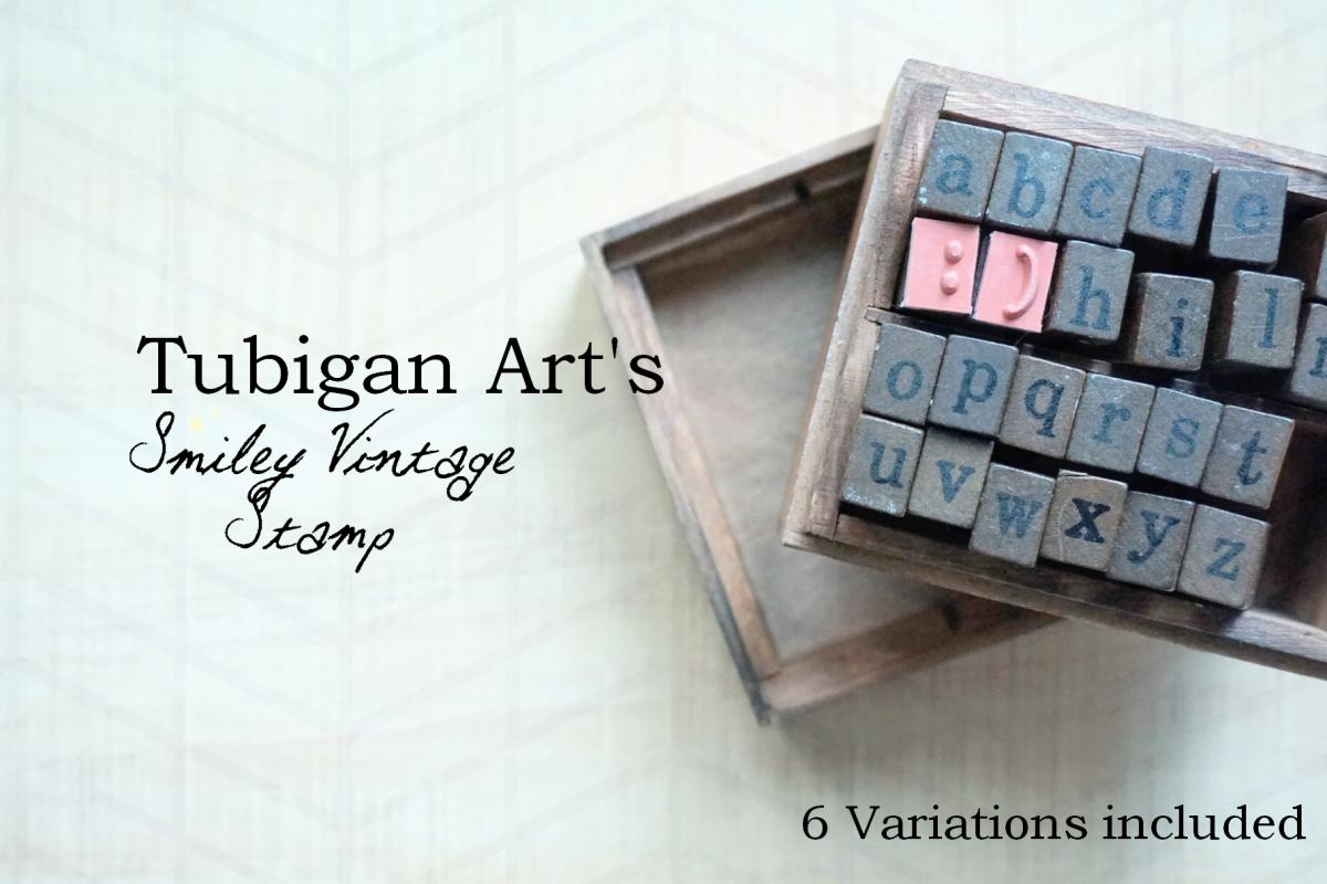 6 Smile on Wooden Vintage Letter Stamp Background example image 1