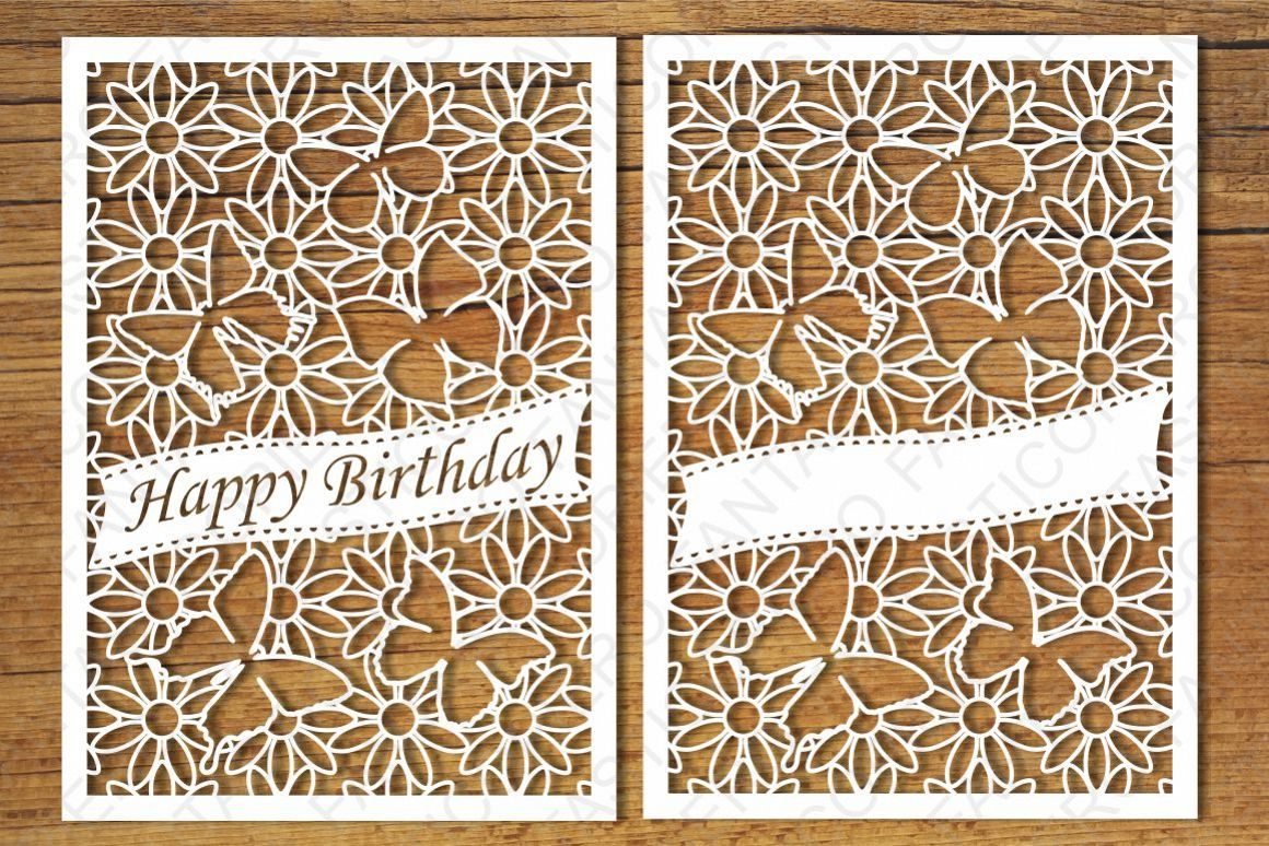 Happy Birthday Greeting Cards 2 SVG Files Example Image 1