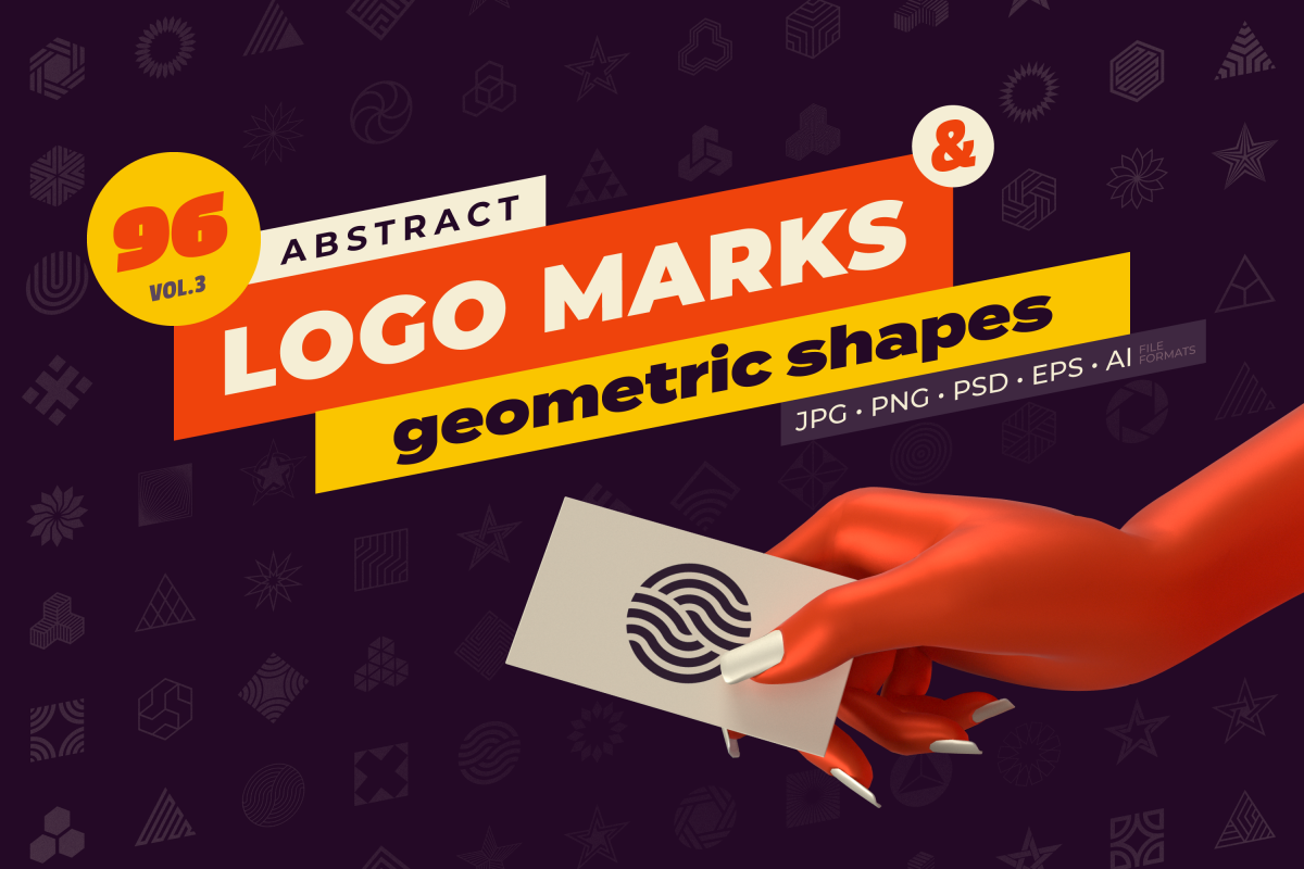 96 Abstract logo marks & geometric shapes collection example image 1