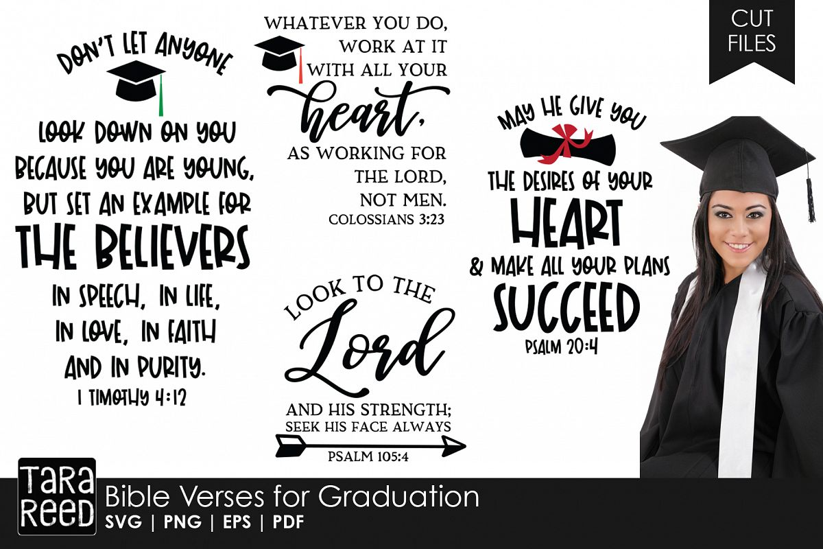 Bible Verses for Graduation SVG and Cut Files for Crafters example image 1