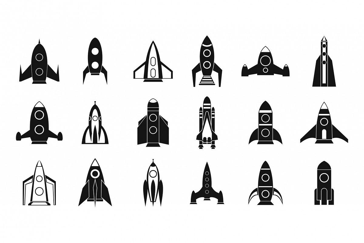 Rocket icon set, simple style example image 1