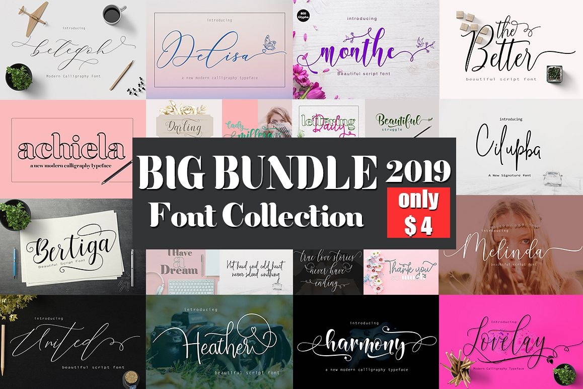 Big Bundle Font Collection. example image 1