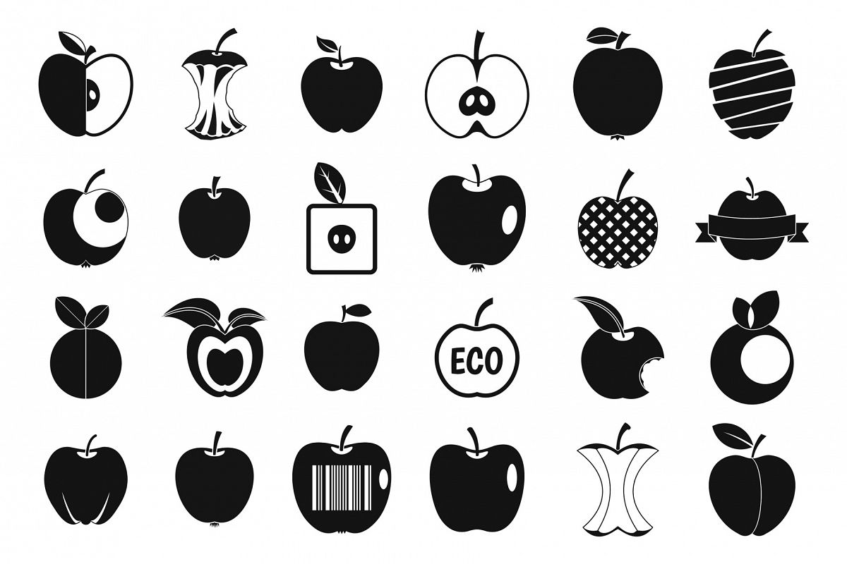 Different apple icon set, simple style example image 1