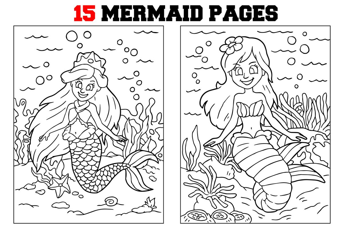 Coloring Pages For Kids - 15 Mermaid Coloring Pages example image 1
