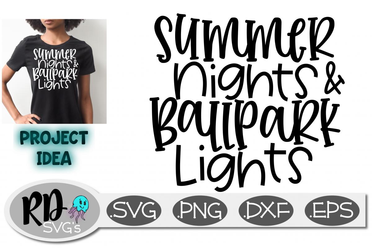 ef2eb4373fc0 Softball Baseball SVG - Summer Nights and Ballpark Lights example image 1