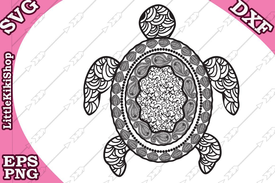 Zentangle Turtle Svg, Mandala Turtle Svg, Zentangle Animal S example image 1