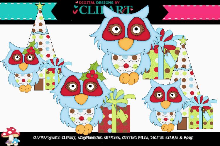 Blue Christmas Owls example image 1