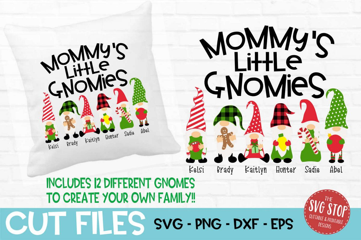 Mommy's Little Gnomies Christmas SVG, PNG, DXF, EPS example image 1